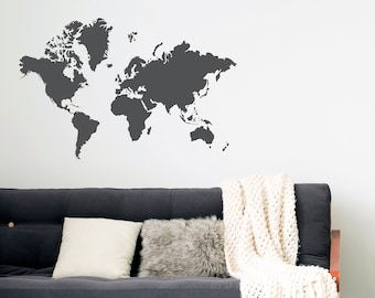 Gold world map wall decal gold office decor bedroom wall etsy world map decal removable wall decal bedroom decor gold decor wall decals office decor world globe gold map wanderlust world traveler gumiabroncs Gallery