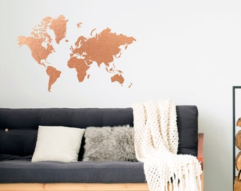 Office world map etsy copper world map wall decal copper office decor office wall decal gumiabroncs Choice Image