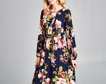 7fef944e9da Floral Midi Dress for women    Easter Dress   Modest Apparel   Modest Dress    Floral Easter Dress   Cozy Dress   Cozy Apparel   Comfy Dress