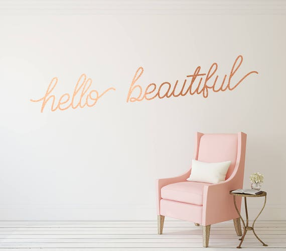 hello beautiful vinyl decal copper wall decal / hello | etsy