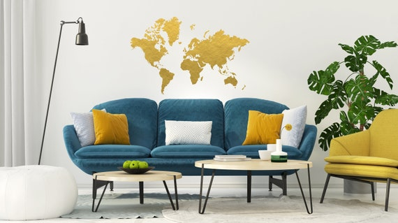 Gold world map wall decal gold office decor bedroom wall etsy image 0 gumiabroncs Gallery