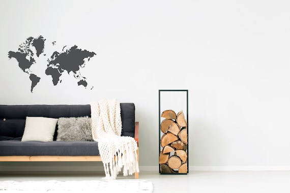 world map decal // removable wall decal bedroom decor gold | etsy