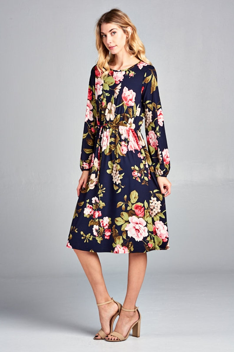 e05a18ed2c8e Floral Midi Dress for women    Easter Dress   Modest Apparel