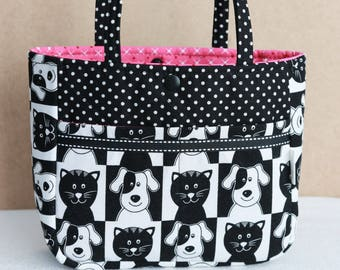 29dd20d9b9007 Sweet Little Tote- pink lining cat dog print -little girl s tote purse