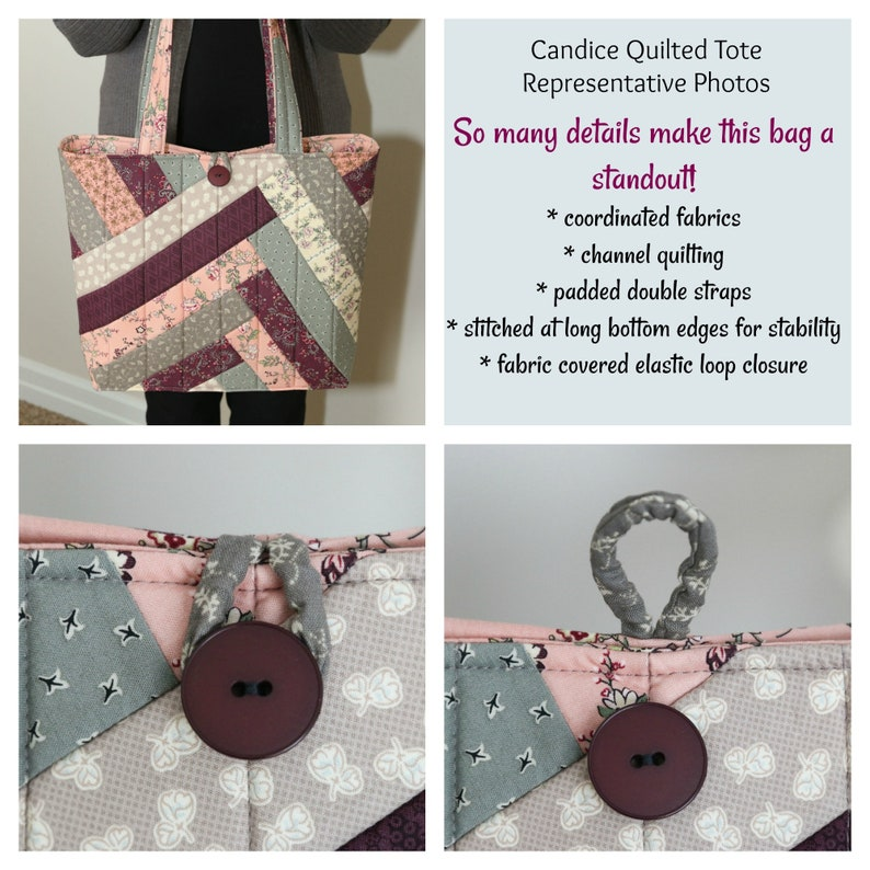 Candice Quilted Tote: shopper flat bottom double padded straps quilted padded pieced buttonloop closure inside zip pocket bookbag