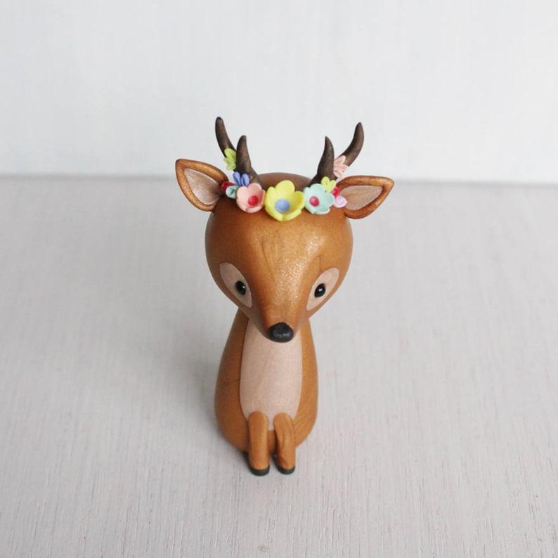 Deer clay figurine  boho style deer sculpture  deer woodland image 0