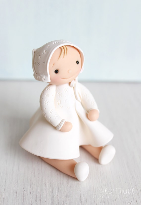 Birthday Little Girl cake topper and Christening Baptism personalised polymer clay ornament and keepsake Personalized doll Clay Cake Topper