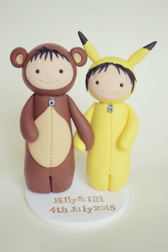 Bear and Pikachu Wedding Cake Topper Pokemon cake topper by | Etsy