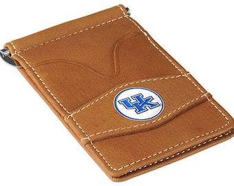 Kentucky Wildcats Tan Leather Wallet Card Holder