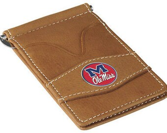 Mississippi Rebels Tan Leather Wallet Card Holder
