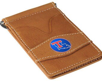 Louisiana Tech Bulldogs Tan Leather Wallet Card Holder
