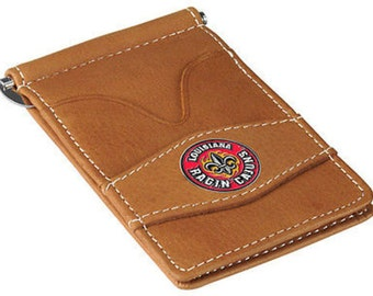 Louisiana Lafayette Ragin Cajuns Tan Leather Wallet Card Holder
