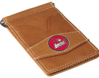 Louisville Cardinals Tan Leather Wallet Card Holder