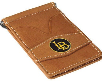 Long Beach State 49ers Tan Leather Wallet Card Holder