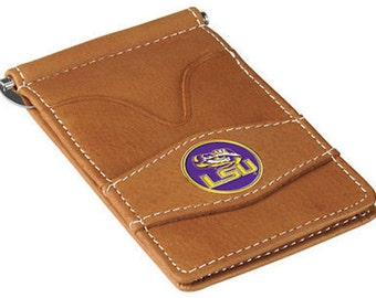 LSU Tigers Tan Leather Wallet Card Holder