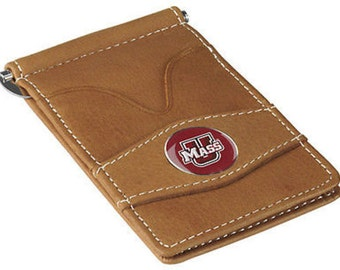 Massachusetts Minutemen Tan Leather Wallet Card Holder