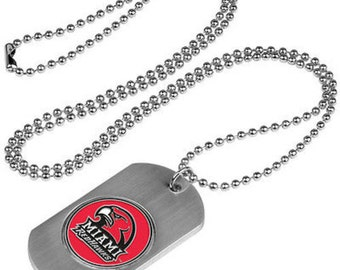 Miami Redhawks Stainless Steel Dog Tag Necklace