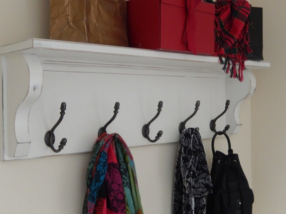 Coat Rack With Shelf Wall Shelf With Vintage Style Iron Etsy Cool Vintage Style Coat Hook Rack With Shelf