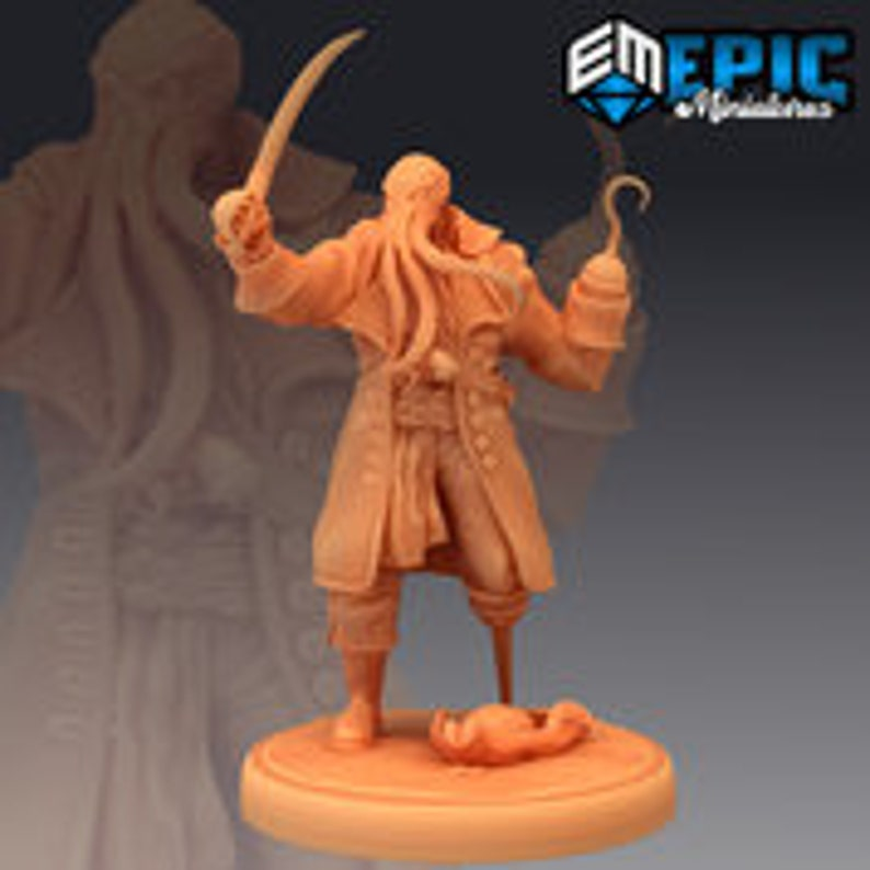 3d printed miniatures 28mm  Dungeons and Dragons Pathfinder D/&D Inferno Island Captain Ahathid Epic Miniatures