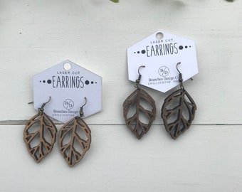 leaf dangle wood earring laser engraved laser cut dangle leaf earring wooden