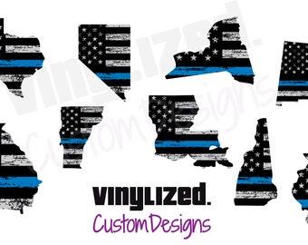2x3 Vinyl Decal Police LEO Support Law Enforcement Blue Line Flag Sticker Back the Blue UV Coated Gift For Him Blue Black Gray