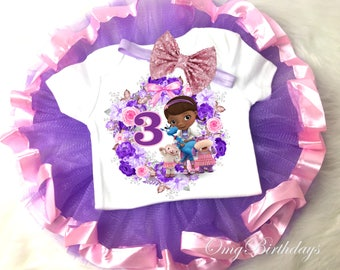 Doc McStuffins Purple Pink 3rd Third Birthday Shirt Tutu Tee Sequins Bow Headband Set Baby Girl Outfit Party Custom Cake Smash