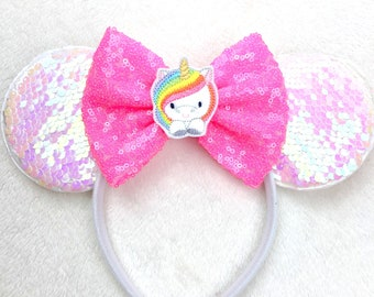 45610f54c8e8 Rainbow Cute Unicorn Hot Pink Minnie Mouse Ears Headband, Sequins Bow,  Iridescent White, Mickey Ears, Disney Vacation Ears, Adult Child