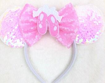 62b7d539b2752 Pink Ballet Slipper Dance Minnie Mouse Ears Headband
