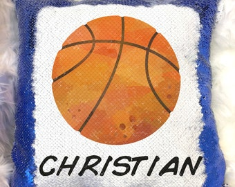 Basketball Sports Ball Reversible Magic Sequins Flip Pillow Cover Case  Personalized Name Custom Boy Birthday Gift w  Stuffing e5b098651ebb