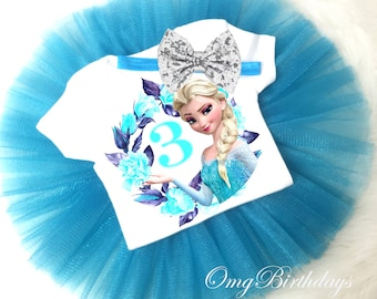 196444eca1 Birthday Princess Elsa Queen Frozen Blue Silver Sequins Bow Headband 3rd  Third age 3 Shirt   Tutu Set Girl Outfit Party Dress sq Custom Size