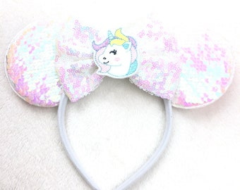 45c6933a21d2 Unicorn Minnie Mouse Ears Headband, Sequins Bow, Iridescent White, Mickey  Mouse Ears, Disney Vacation Ears, Adult Child