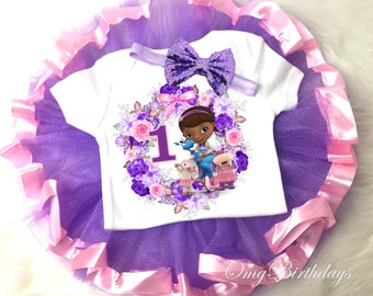 Doc McStuffins Purple Pink 1st First Birthday Shirt Tutu Tee Sequins Bow Headband Set Baby Girl Outfit Party Custom Cake Smash