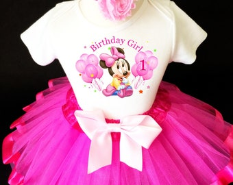 Birthday 1 Year Old Hot Pink Baby Minnie Mouse 1st First Shirt Tutu Set Girl Outfit Party Dress Headband Custom Size
