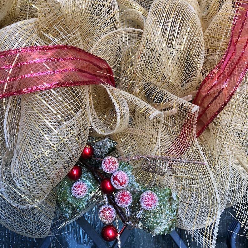 Holiday Front Door Seasonal Winter Red Glitter Decor Door Hanger Gold Golden Christmas Red berries Wreath Mesh Wreath Free Shipping