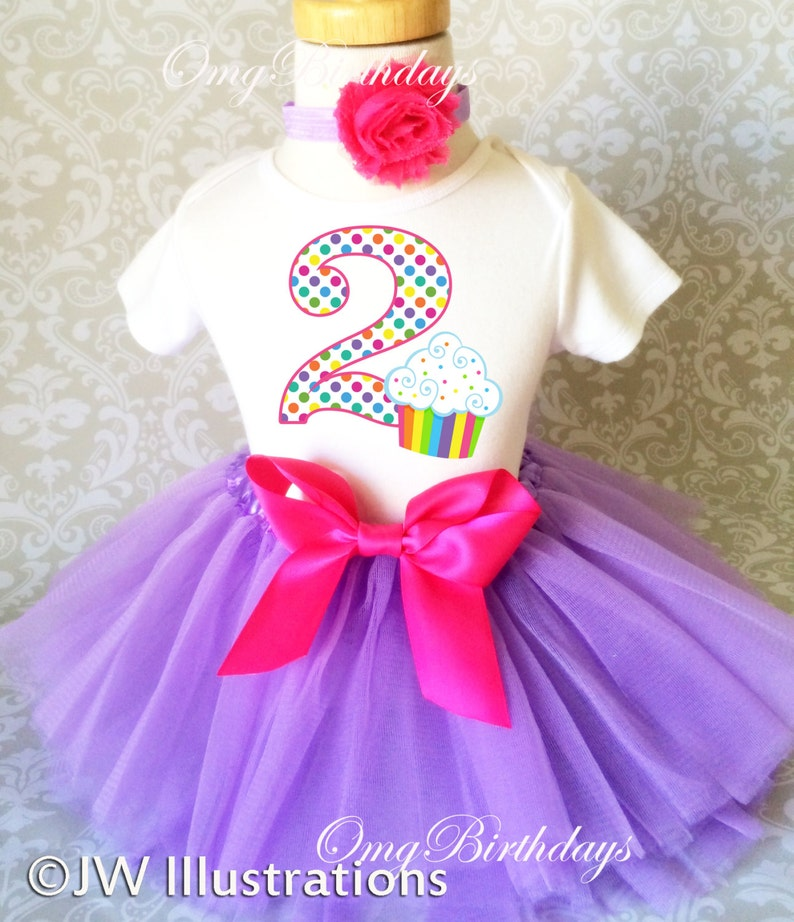 Birthday Rainbow Polka dot cupcake lavender pink sweet  2 2nd Two Second Shirt /& Tutu Set Girl Outfit Party Toddler Headband Custom Size
