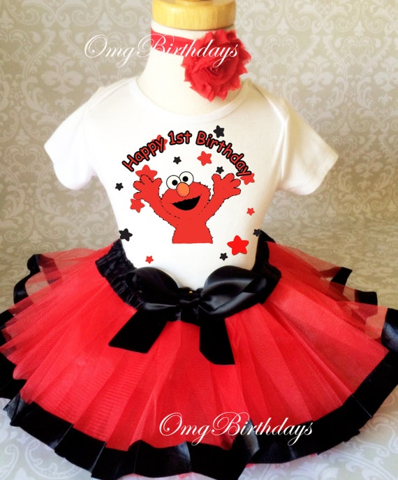 Elmo Red Orange Dots Baby Girl 1st First Birthday Tutu Outfit Shirt Set Baby One