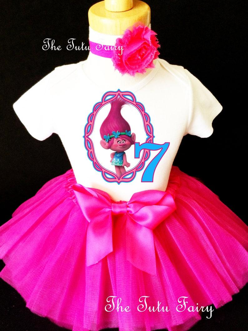 NAME Third 3rd 3 Bday Shirt Poppy Fuchsia Tutu Dress Trolls