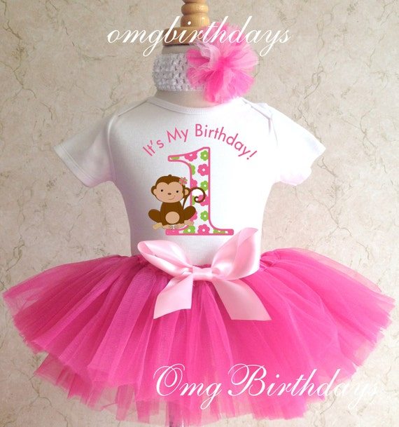 Pink green  Mod Monkey Girl 2nd Second Birthday Shirt Tutu Outfit Set Party