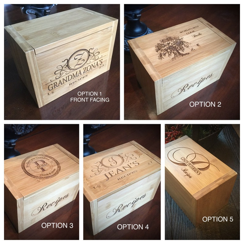 Personalized Wood Recipe Box Engraved Recipe Box Custom Wood Recipe Box For Wedding Personalized Recipe Box Kitchen Gifts For Mom