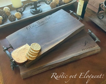 FREE SHIPPING 20 dollar value, Personalized cutting board, large wood cutting board, rustic cutting board, rustic decor, charcuterie board