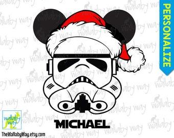 7ea22d0ebb98a Stormtrooper with Santa Hat Star Wars Disney Christmas Printable Iron On  Transfer or Use as Clip Art - DIY Disney Christmas Shirt Personaliz