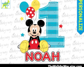 mickey mouse 1st birthday shirt etsymickey 1st birthday printable iron on transfer or use as clip art diy mickey mouse birthday shirt first birthday mickey mouse