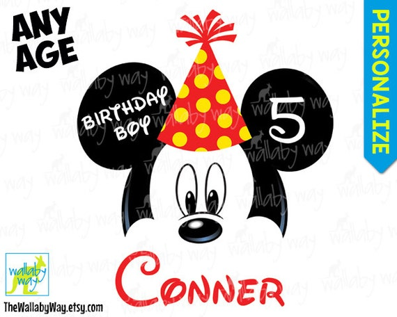 Mickey mouse birthday party hat printable iron on transfer or etsy image 0 maxwellsz