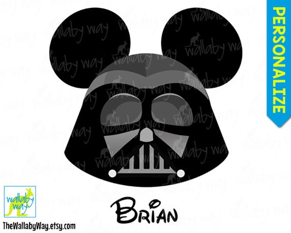 photo relating to Darth Vader Printable named Darth Vader Mickey Brain Star Wars Printable Disney Iron Upon Shift or Retain the services of as Clip Artwork - Do it yourself Disney Blouse Mickey Ears Star Wars Weekend
