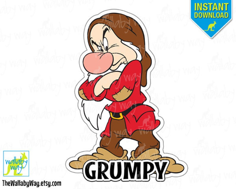 image regarding Snow White Printable referred to as Grumpy Snow White the 7 Dwarfs Printable Iron Upon Go or Seek the services of as Clip Artwork Do-it-yourself Disney Blouse Matching Shirts 7 Dwarfs Holiday vacation