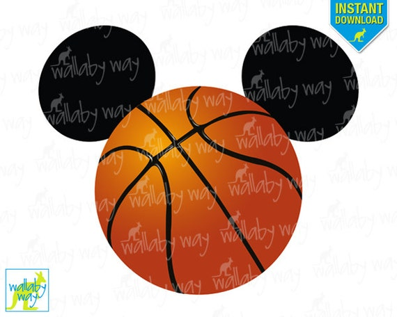 basketball mickey mouse ears printable iron on transfer or use etsy rh etsy com Mickey Mouse Outline Mickey Mouse Clip Art