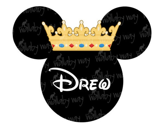 mickey mouse king crown printable iron on transfer or use as etsy