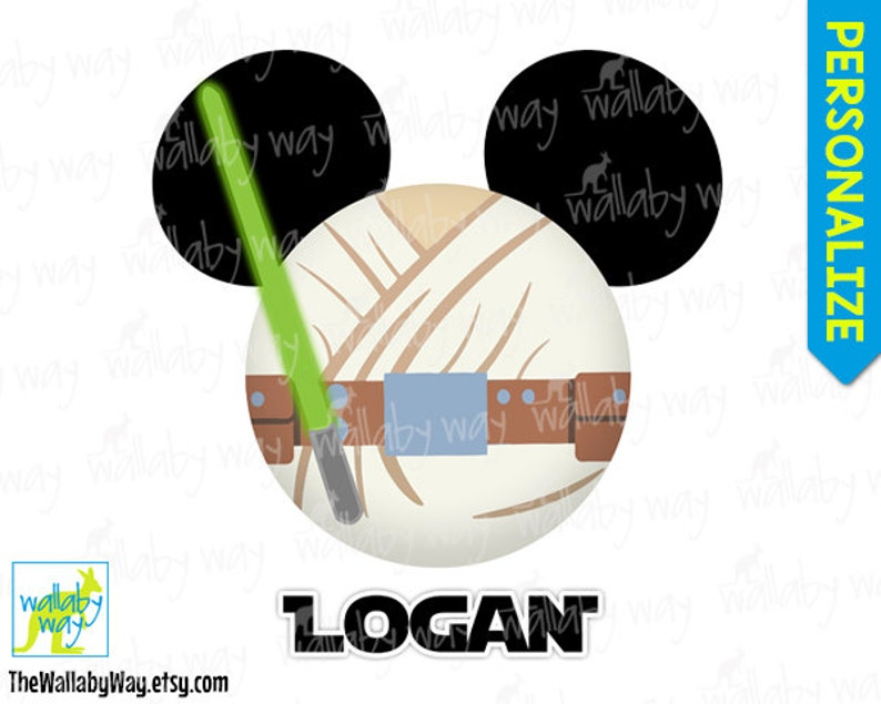 picture regarding Star Wars Printable titled Luke Skywalker Mickey Mind Jedi Star Wars Printable Disney Iron Upon Shift or Employ the service of as Clip Artwork - Do it yourself Disney Blouse Mickey Ears Star Wars