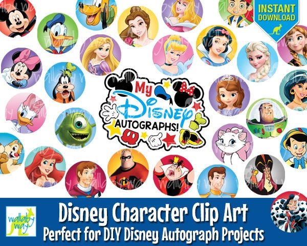 photograph about Printable Disney Characters named Disney Figures Electronic Clip Artwork for Do-it-yourself Disney Autograph Job 60 alternative Figures found inside Disney Parks Immediate Down load Printable