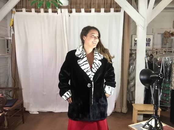 Betmar NY Black and White Fun Faux Fur Coat